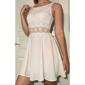 White Dress With Embroidery Cutout